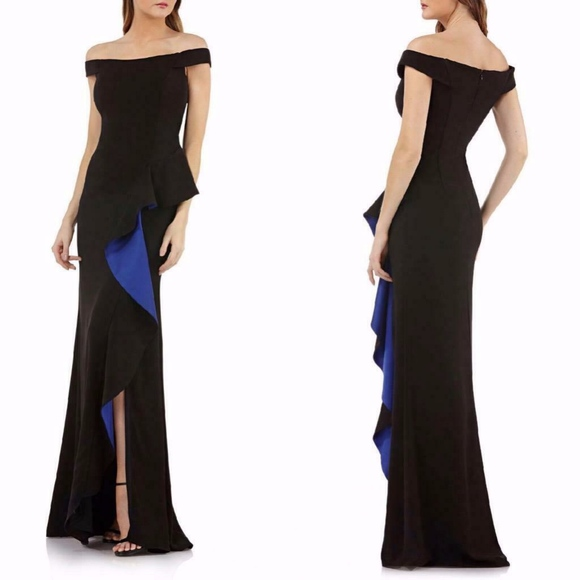 Carmen Marc Valvo Dresses & Skirts - CARMEN MARC VALVO INFUSION Black RUFFLE SLIT GOWN